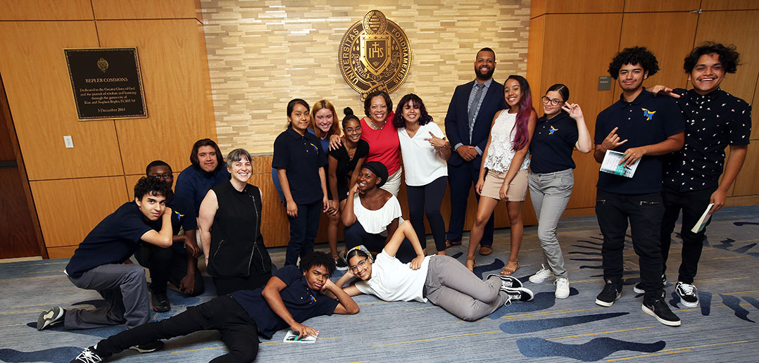 Fordham Trustee Valerie Rainford hosts local high school students at Rose Hill
