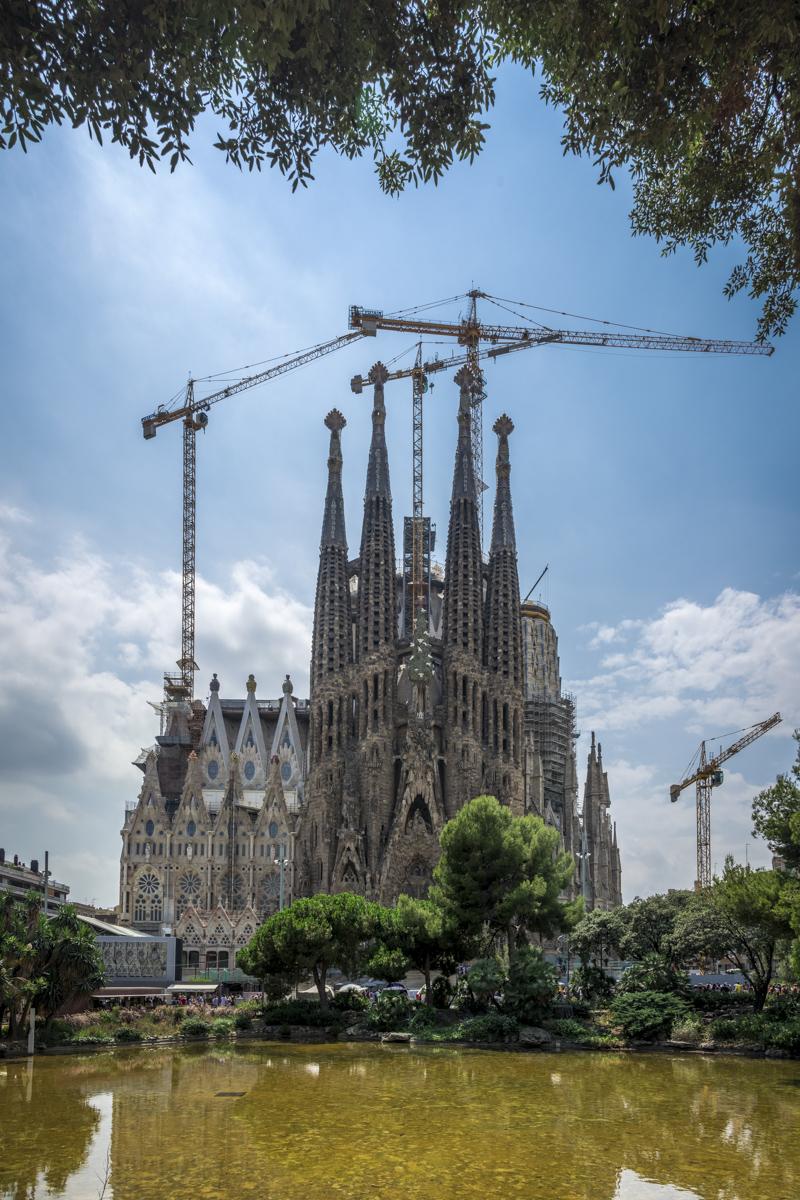 Sagrada Família from a distance.