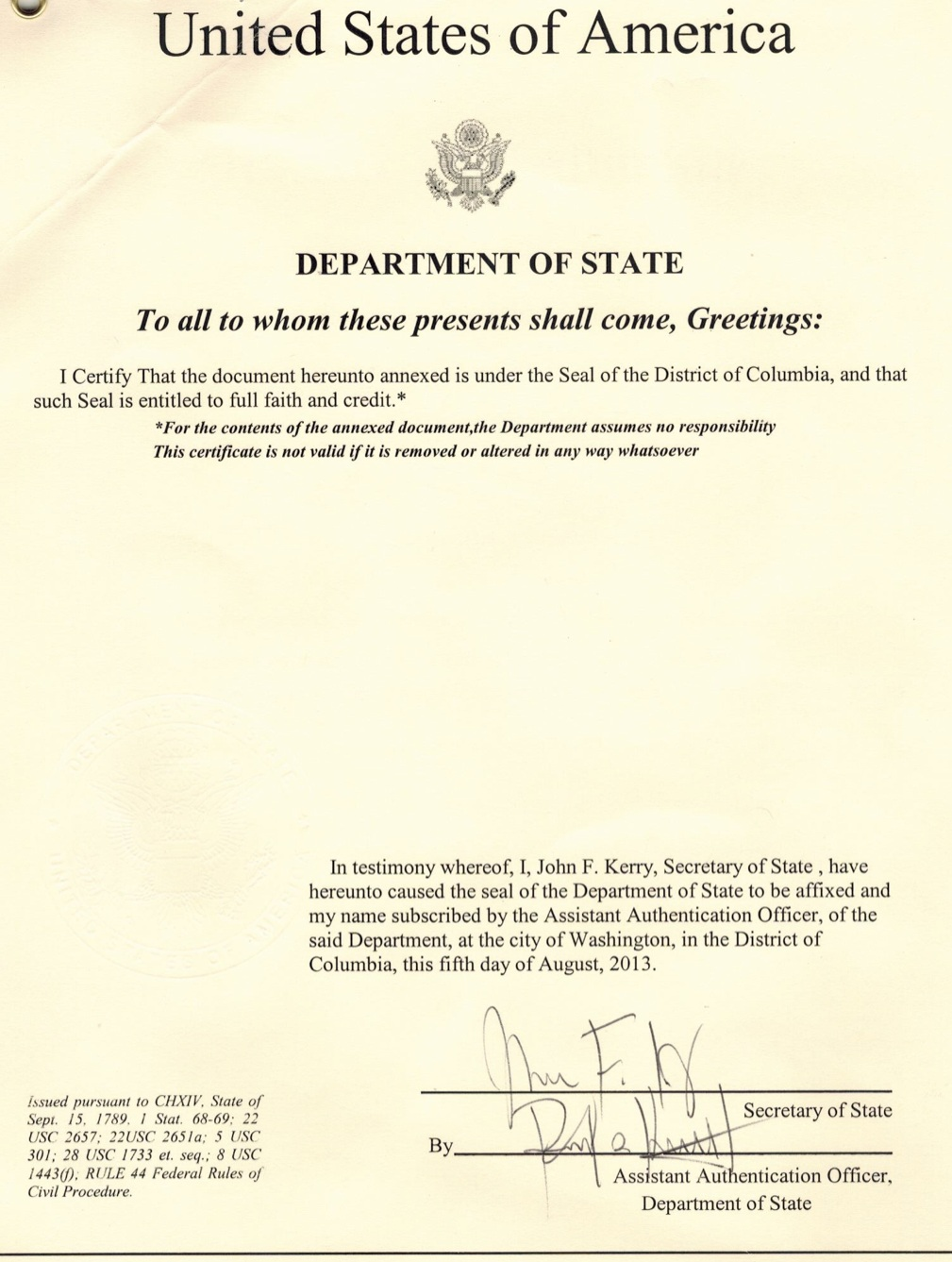 US State Department of State Apostille