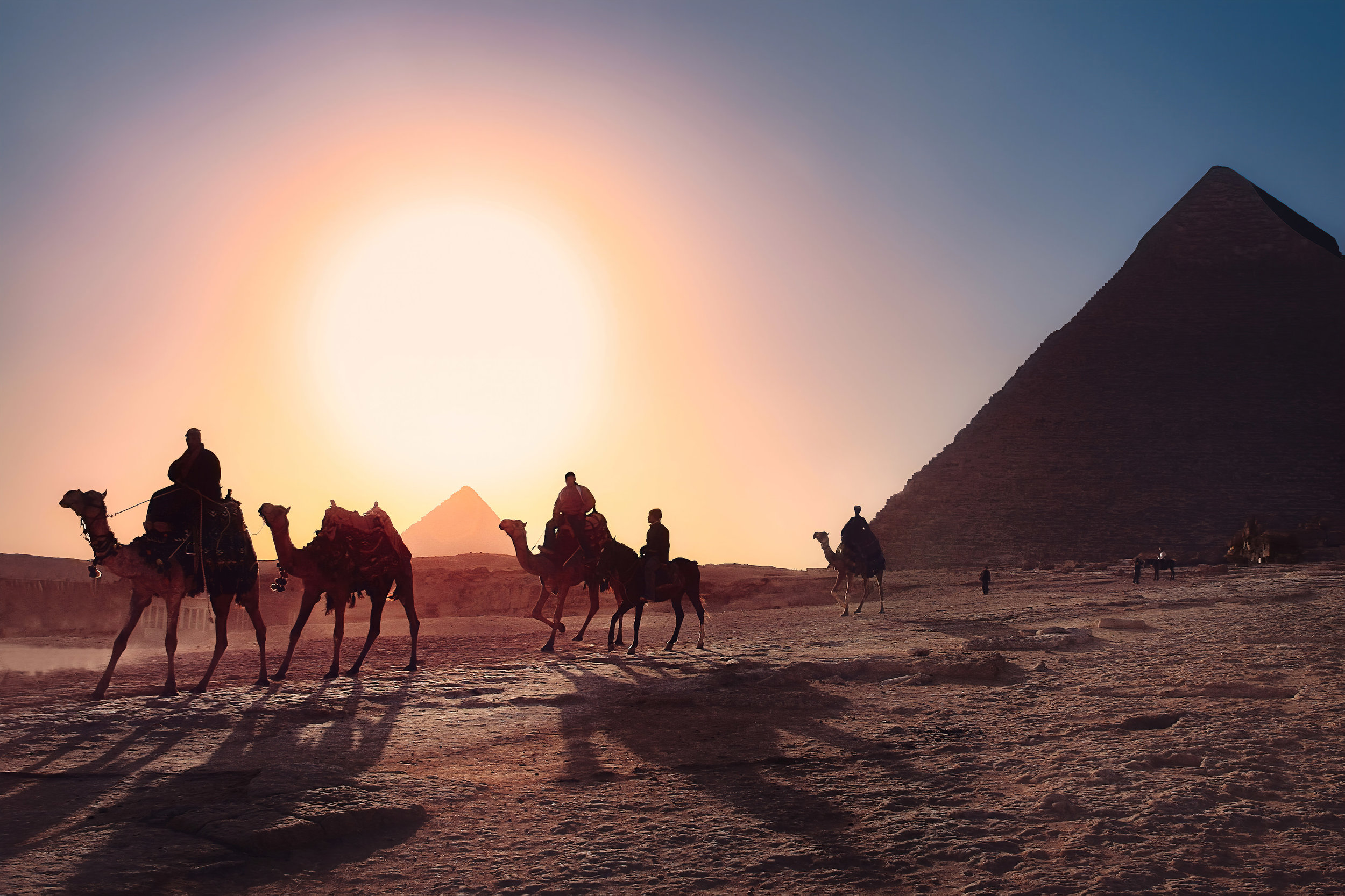 Sunset at the Pyramids of Egypt