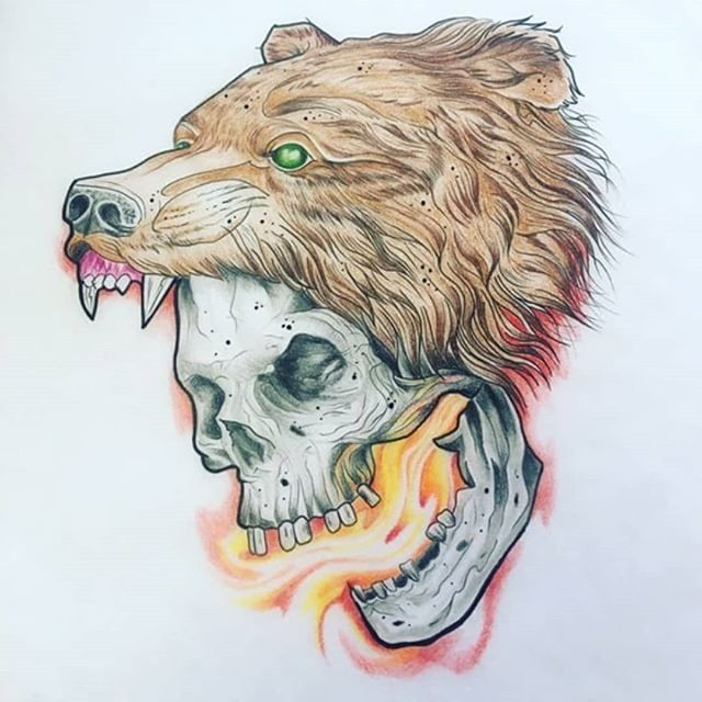 Kick ass drawing done by Milly @whiteowltattoos  #tattoo #tattoos #tats #ink #inked #yeg #yegartist #yegtattooartists #whyteavetattoo #whyteave #eternalinkwhyteave #eternalink #flashtattoo #flashupforgrabs #beartattoo #skulltattoo