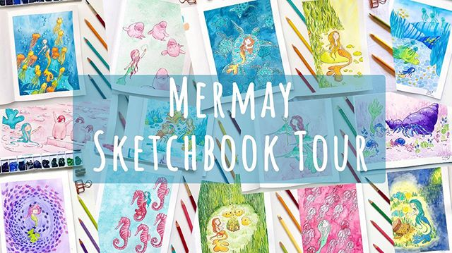 Did you know I posted a #sketchbooktour on my #youtubechanell ? I walk you through all of my #mermay #sketches 🧜‍♀️ • • • #mermay2019 #illustration #illustrator #mermaids #aquarelle #coloredpencil #watercolorillustration #characterdesign