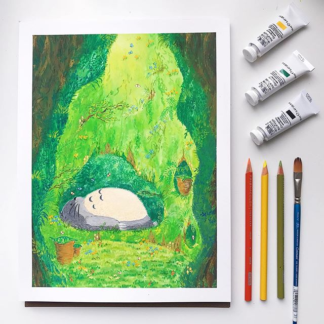 How I spent this weekend- eating and sleeping- just like #totoro ! 😴 • • • #gouache #prismacolor #winsorandnewton #fanart