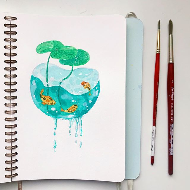 Another small #sketch 🐠🌱 #watercolor #sketchbook