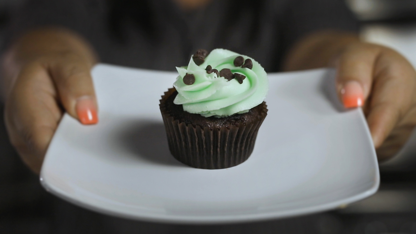 Chocolate Cupcake - With Mint Frosting & Chocolate Chips