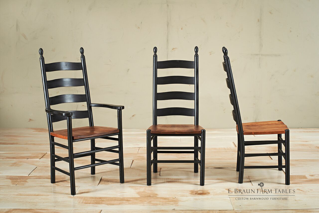 Shaker Ladder Back Chairs, Two-Tone