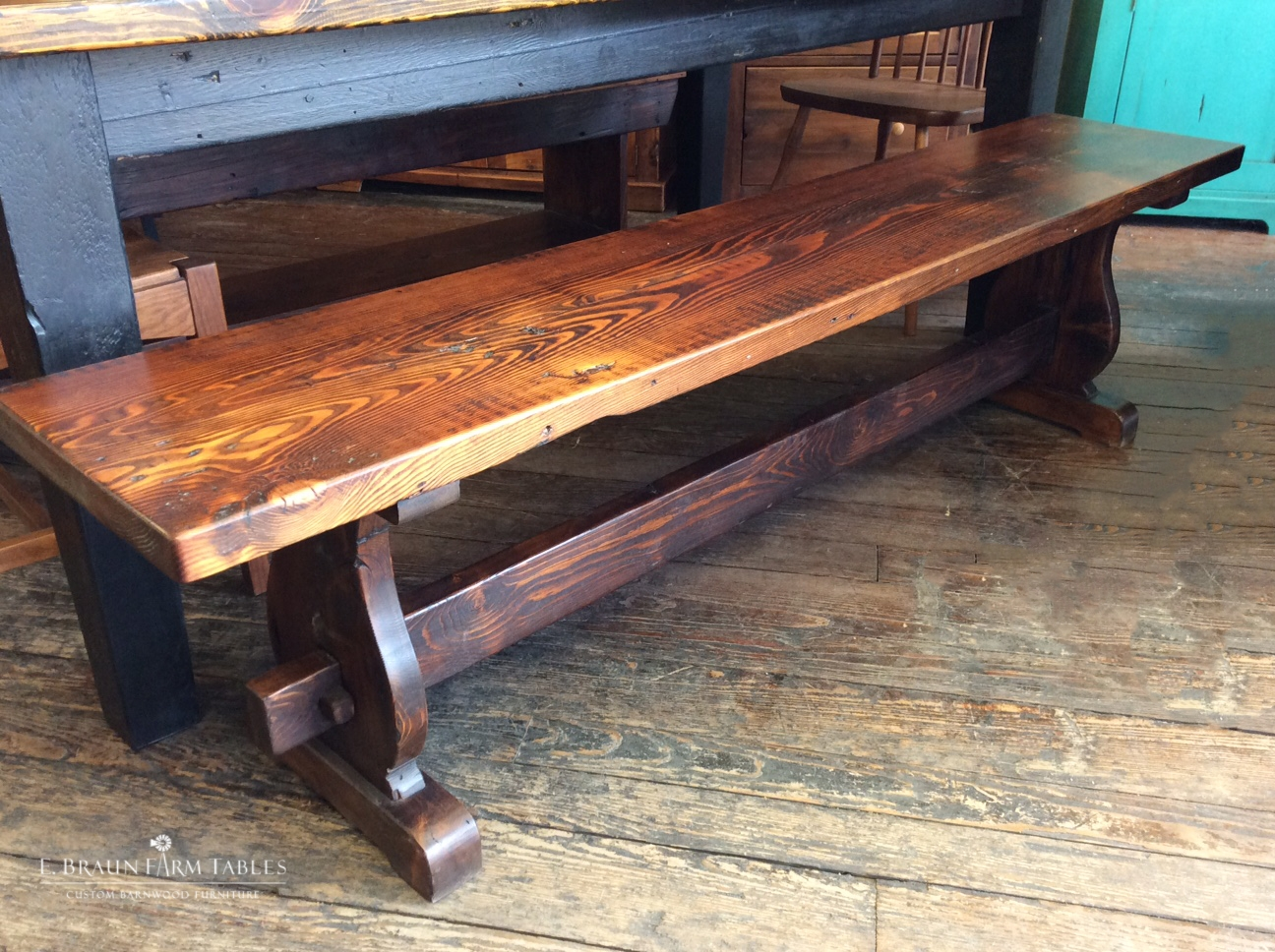 Vase Trestle Bench - stained