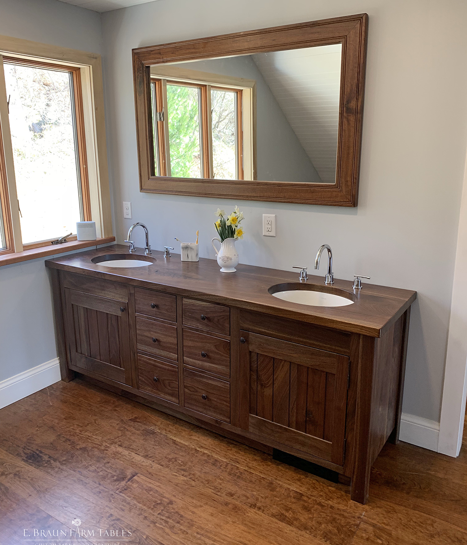Walnut double vanity