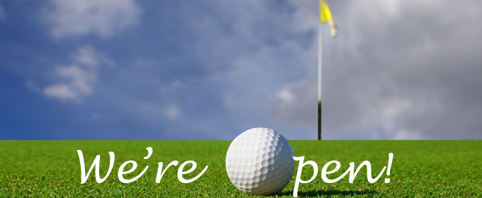 We are officially open! Come out and golf 10am-4pm starting 4/25 (hours will extend as the weather warms up!). Pull carts are available, no power carts yet. Also this season, we are featuring Chanticlear pizza and a yummy new selection of treats and beverages!