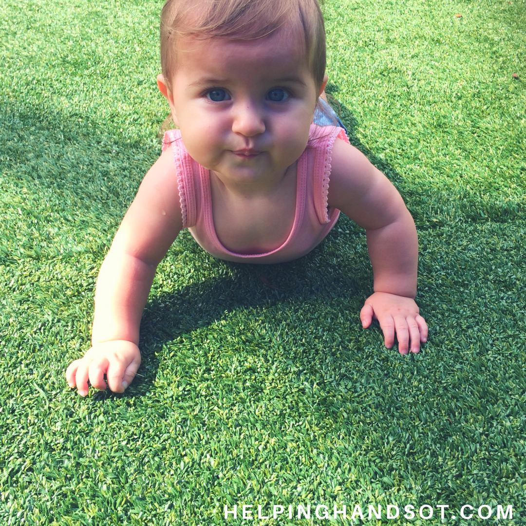 - Crawling Tip: Grass, sand and other fun textures are good places for a baby to learn to crawl because the added texture provides more tactile and proprioceptive input to the hands and knees, giving the brain and body a better awareness of his/her position in space.