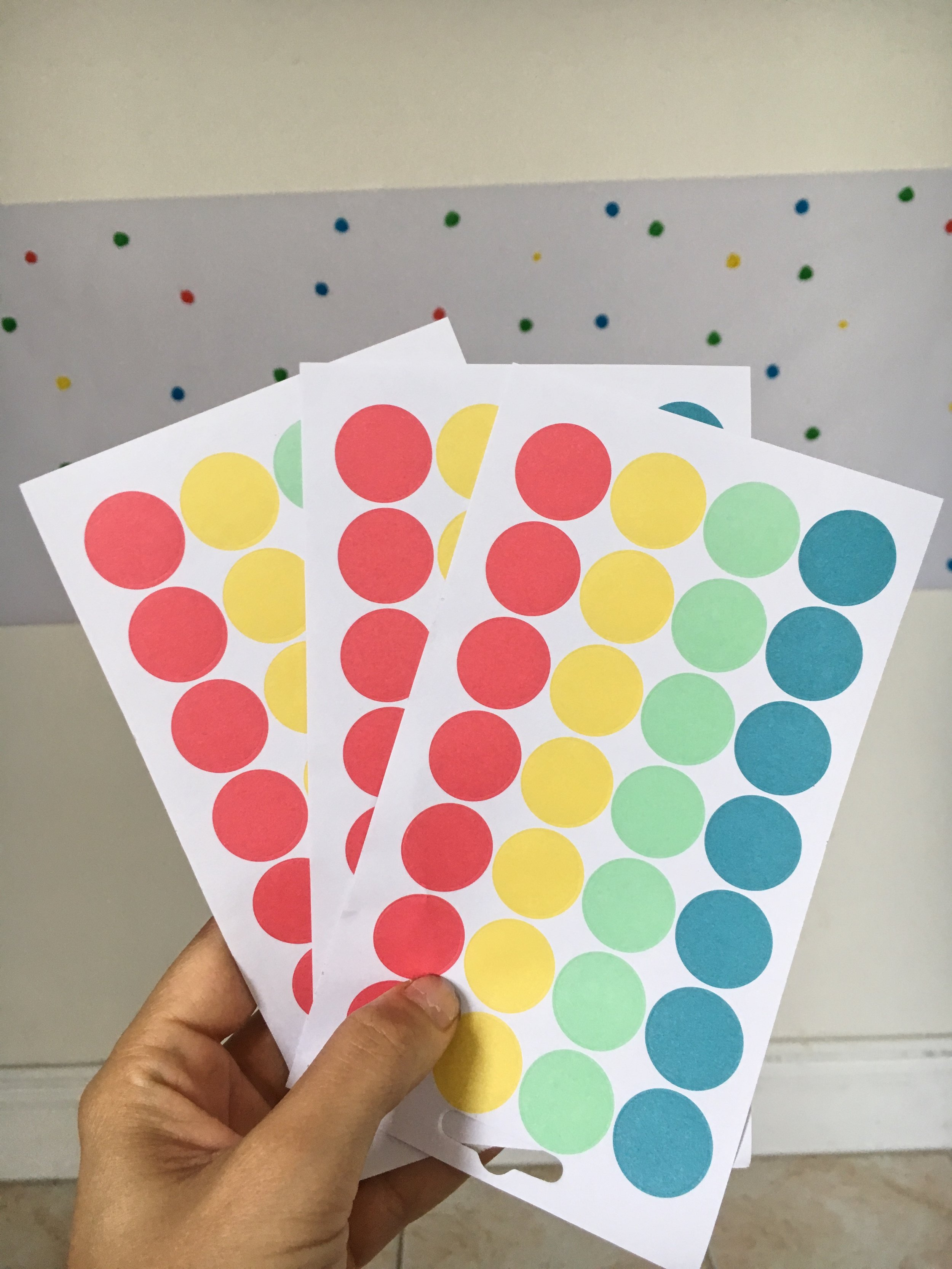 - Supplies Needed:color code dot stickers, markers, paper roll, tape