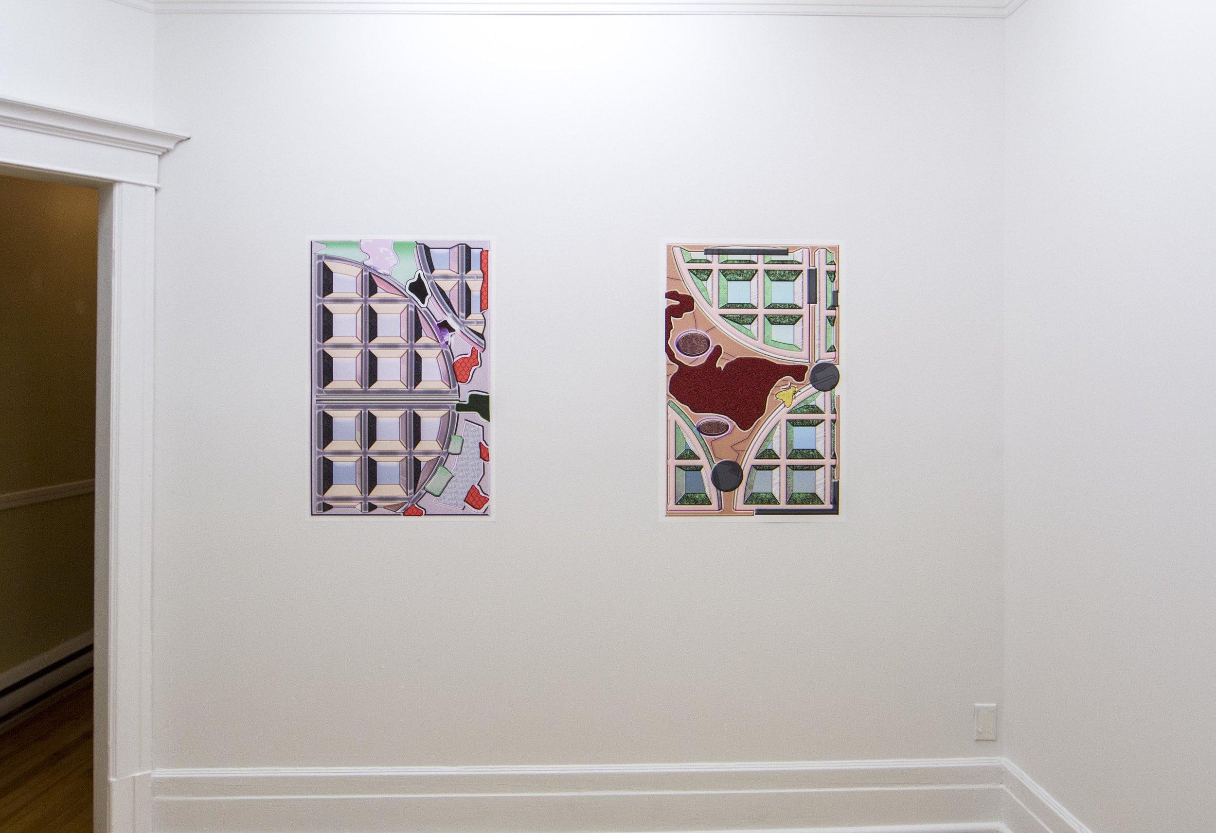Shoegaze (version 1)  (Left),  Shoegaze (version 2)  (right), digital print on polybanniere paper, 2015.