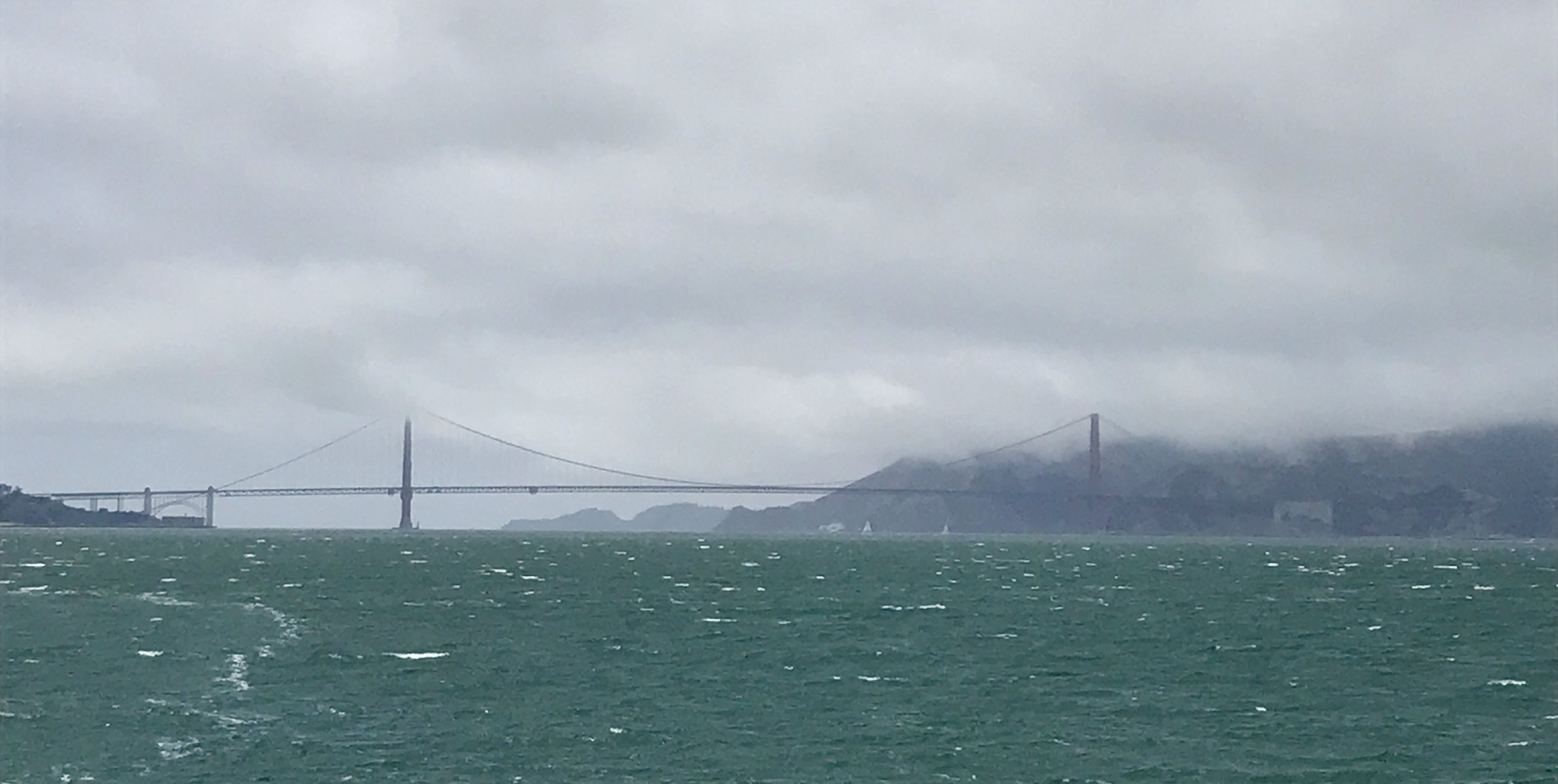 The Golden Gate Bridge in the distance.
