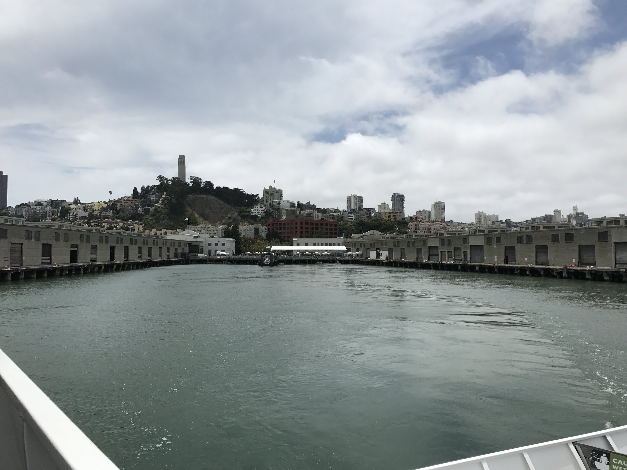 Leaving the mainland dock.