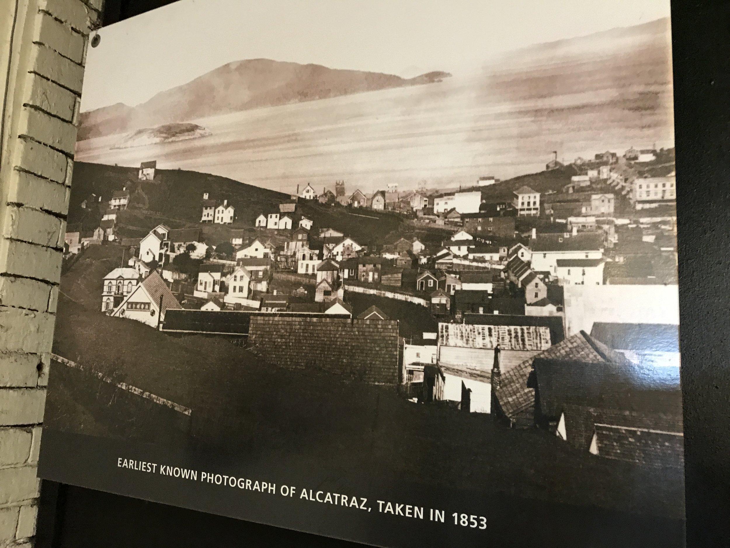 """""""Earliest known photograph of Alcatraz, taken in 1853."""""""