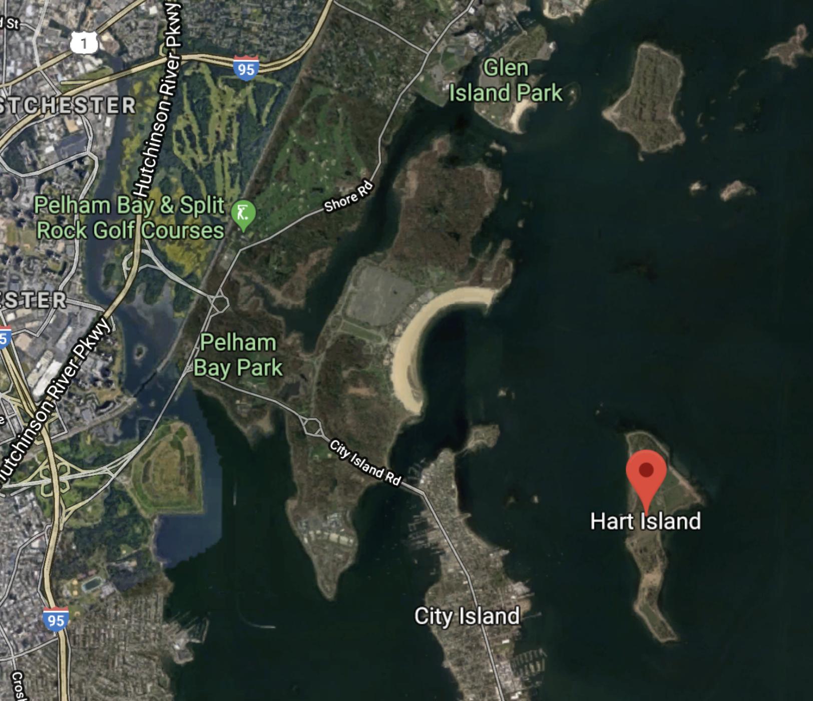 Hart Island satellite image.