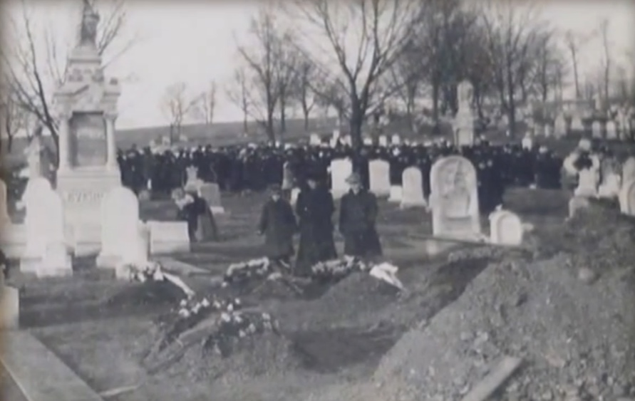 Thousands attend funerals for the Rhoads Opera House Victims in Fairview Cemetery.
