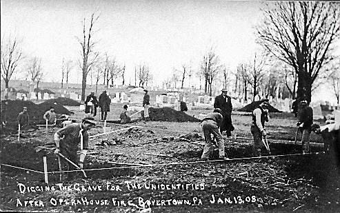"""""""Digging the grave for the unidentified after Opera House Fire, Boyertown, PA Jan 13, 08""""."""
