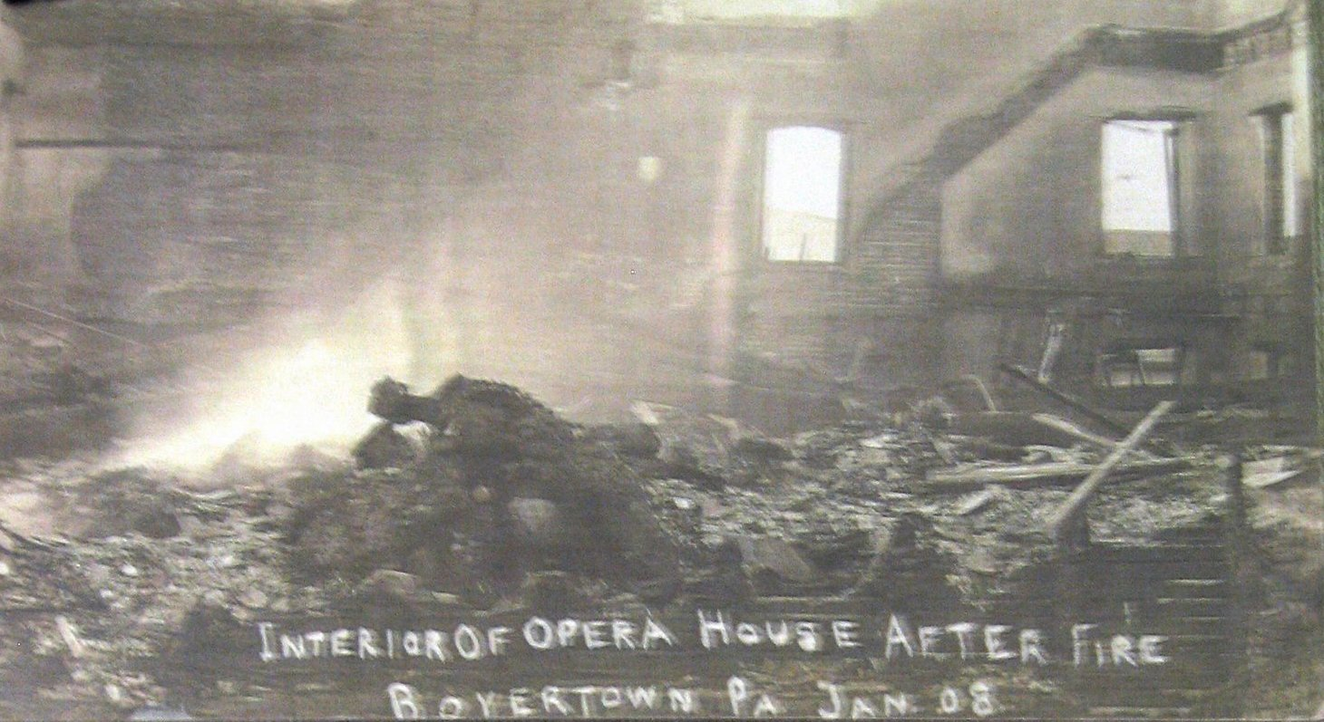 """""""Interior of Opera House after fire Boyertown PA Jan 08"""""""