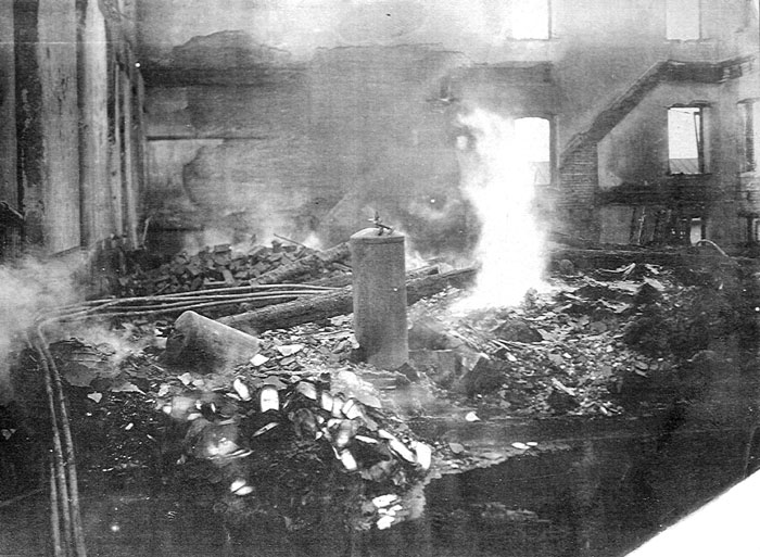 Smoking rubble after the fire.