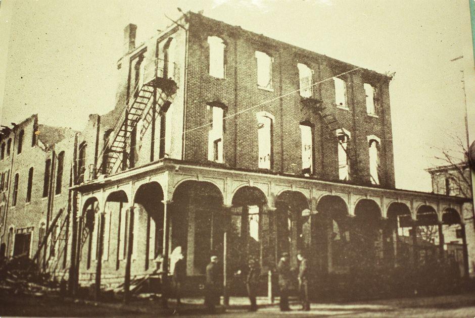 The Rhoads Opera House in ruins.