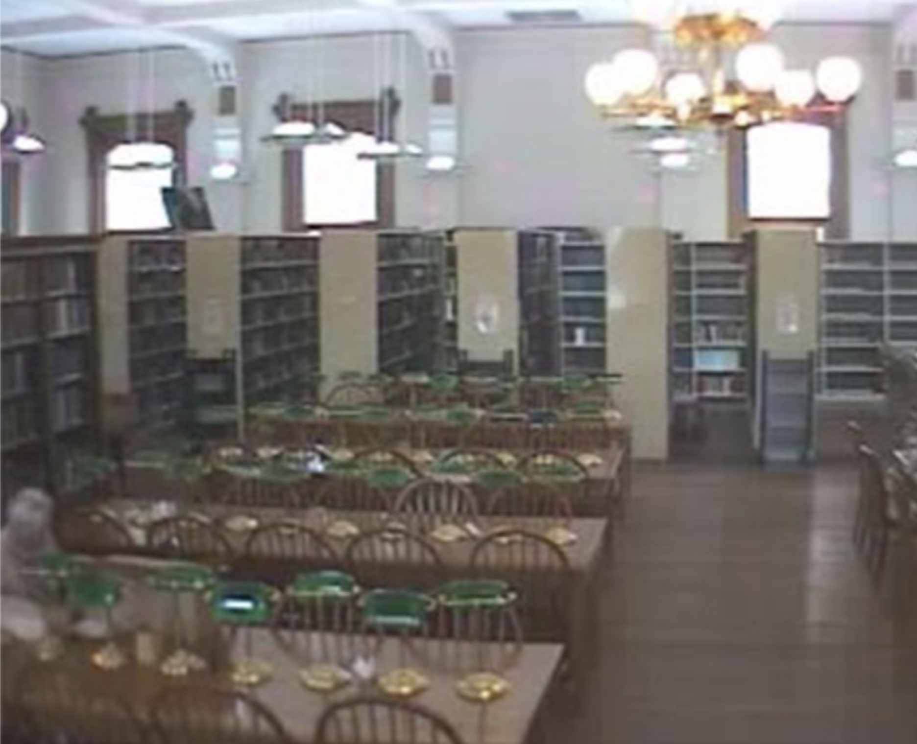 Check out the lower left corner… is it a library patron or a ghostly visitor?