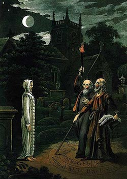 Necromancy: The art of conjuring the dead and communicating with them, image of John Dee and Edward Kelley. From Astrology (1806) by Ebenezer Sibly. (     Wikipedia.org    )