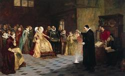 John Dee performing an experiment before Queen Elizabeth I. Oil painting by Henry Gillard Glindoni. 1913 (    Wikimedia Commons    )