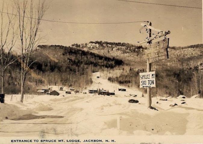 An old photo of Spruce Mountain ski resort.