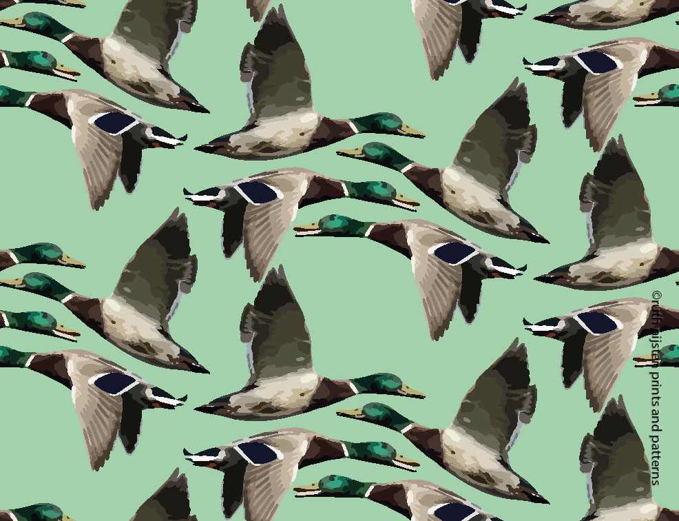 ducks on green ruth nijsten prints and patterns