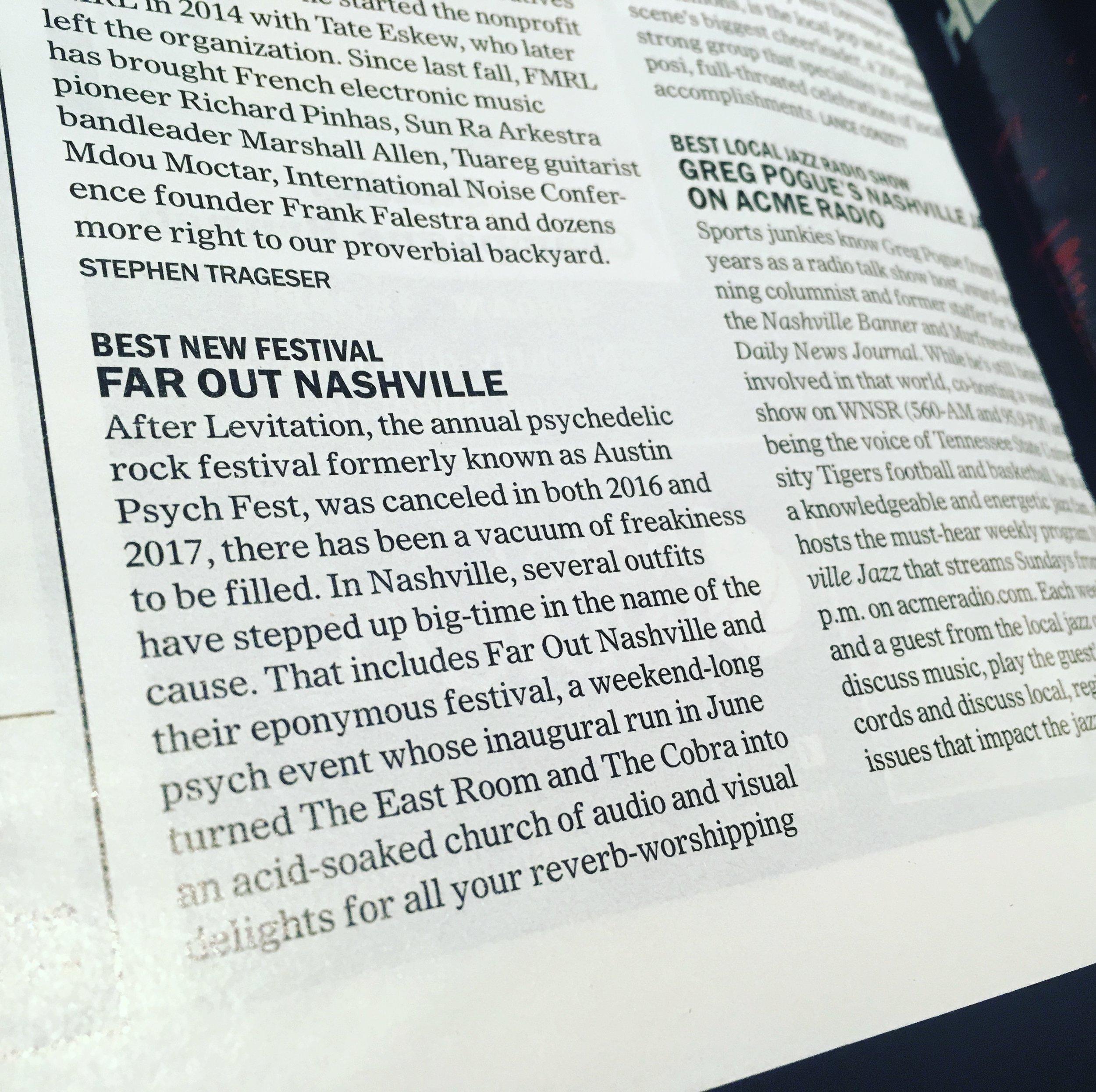 Far Out Nashville Best of Nashville winner 2017 Best New Festival