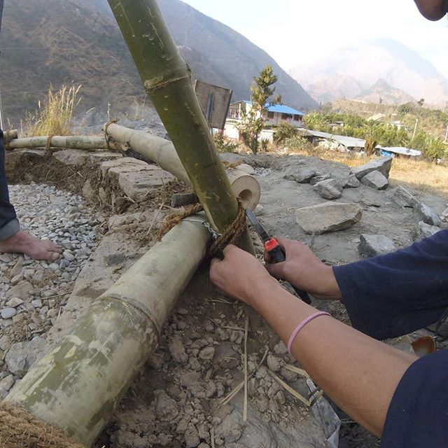 Creating bamboo frame for experimental structure at our annual building project in Nepal.  Looking forward to returning and collaborating on more awesome projects soon.