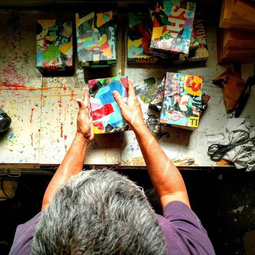 Pictured: Randal Arvilla with works from his series  Self Portrait