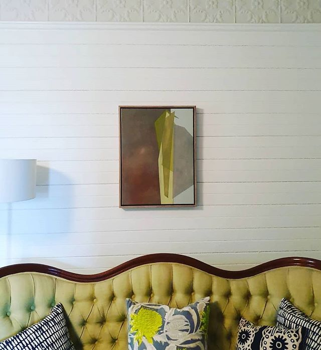 Lovely shot of Caroline Collom's work 'Key Lime Pie' in its new home in the Southern Highlands! Thanks for the capture @theshortsightedoptimist 📸 Today's the last day to enter the draw to win Caroline's 'Paper Planes' painting zinging with colourful abstraction, so follow us and tag a friend to the comp post to win! ... Reposted from @theshortsightedoptimist -  I got me a piece of pie 🥧 Caroline Collom's 'Key Lime Pie' from @collabgallery has found a new wall. Great open studio visit on Saturday, thanks everyone! Something really special about seeing the working space @carolinecollom  #lensculture #modernabstraction #oilpainting #australianartists #supportlocalartists #oldhousestyle #interiors #colours #interiordesign #oldandnew #textiledesign #serpentineline #woodencottage #homelife #livingrooms #countrystyle #waratah #australianflora #pressedtinceiling #architecture #bowralnsw #dailyphoto #paintingcompetition #lastchance #sydneyartist #entertowin #regrann