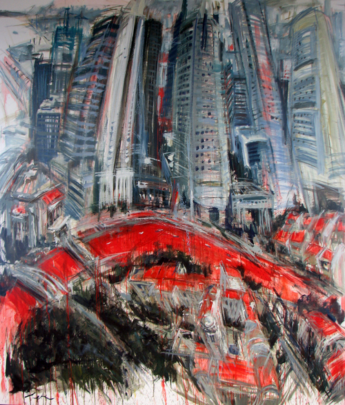 Horizons of change no.28, triptych (Singapore River)panel 1