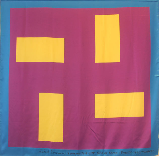 Scarf: Printed Silk - Swastika, Purple and Morning Yellow