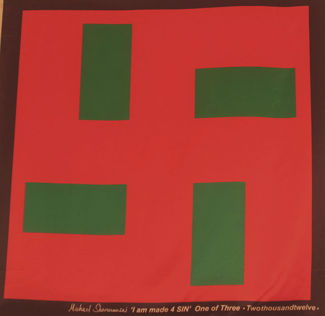 Scarf: Printed Silk - Swastika, Red and Leaf Green
