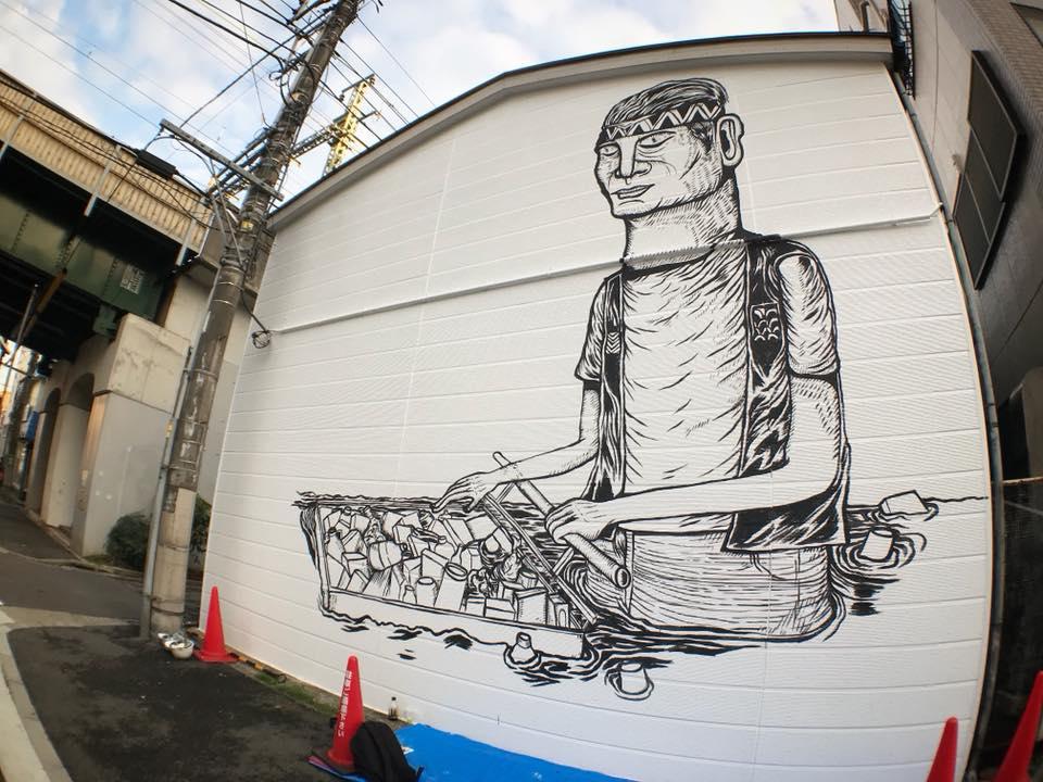 Wall-In-Progress. For Koganecho Art Bazaar 2018.