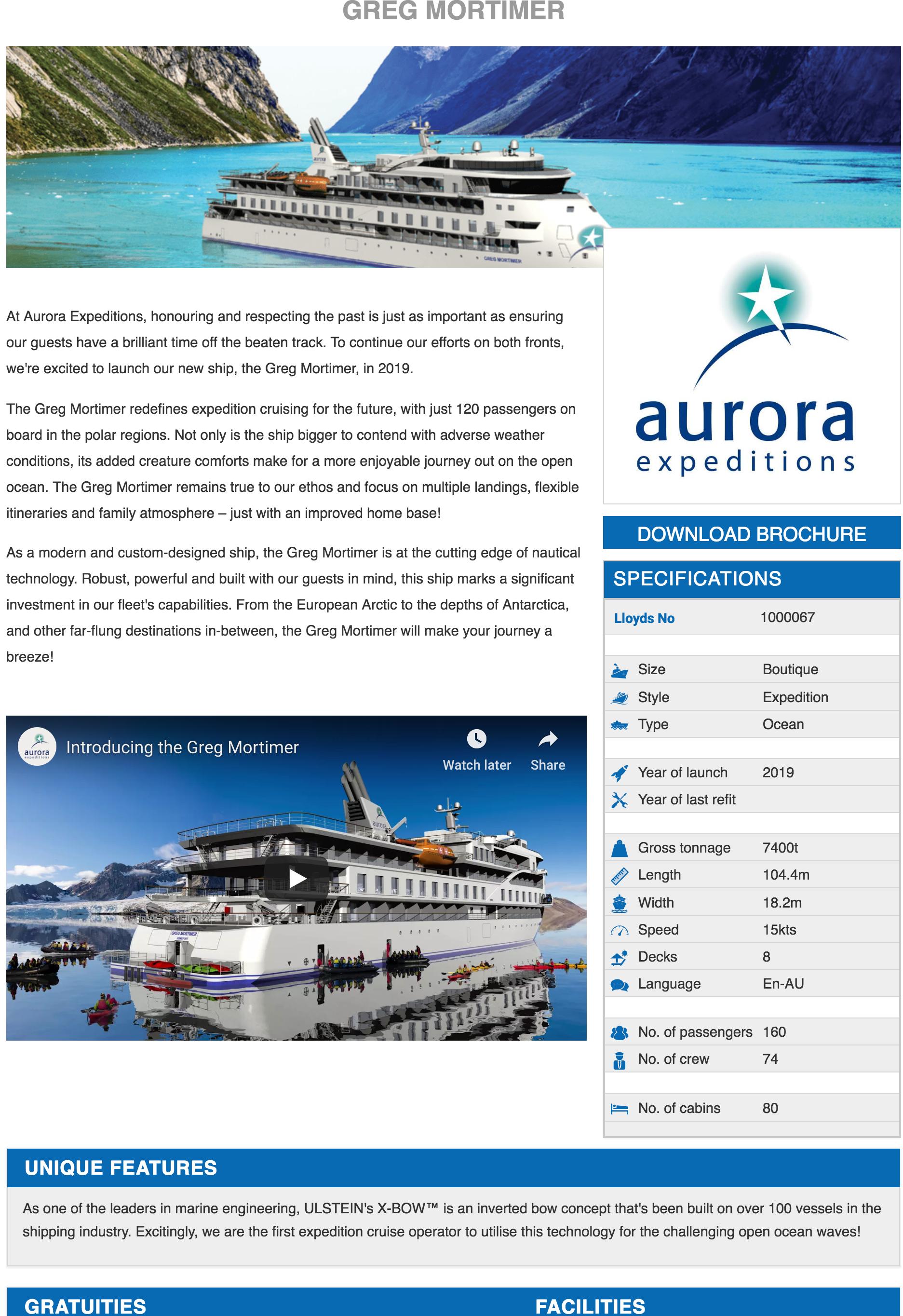 The Greg Mortimer Ship iFrame
