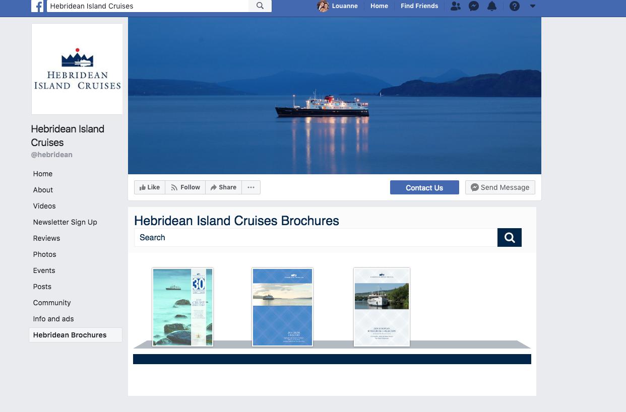 Cruise brochures on Hebridean's Facebook page.