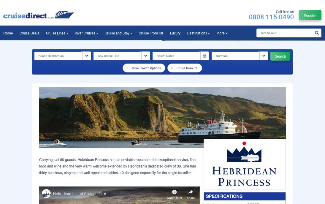 Hebridean Princess on Cruise Direct