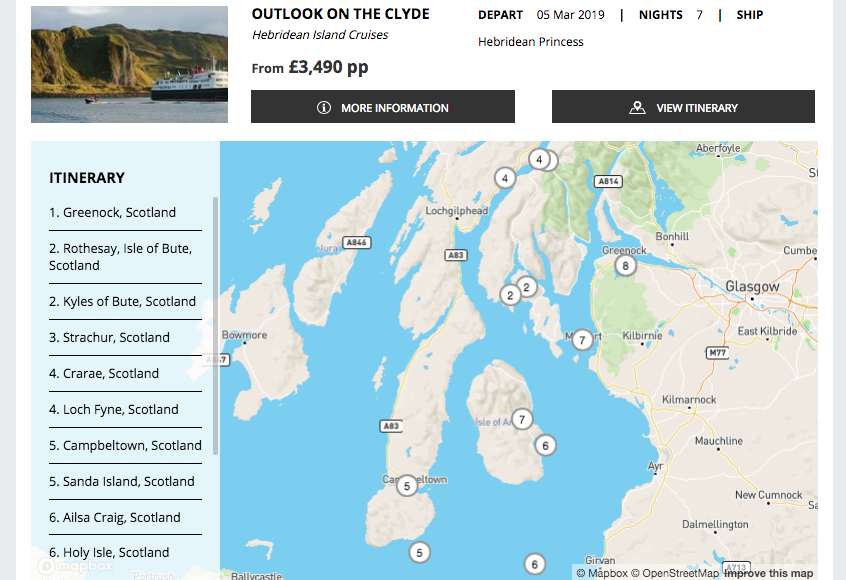 Hebridean itinerary on a Cruise Search