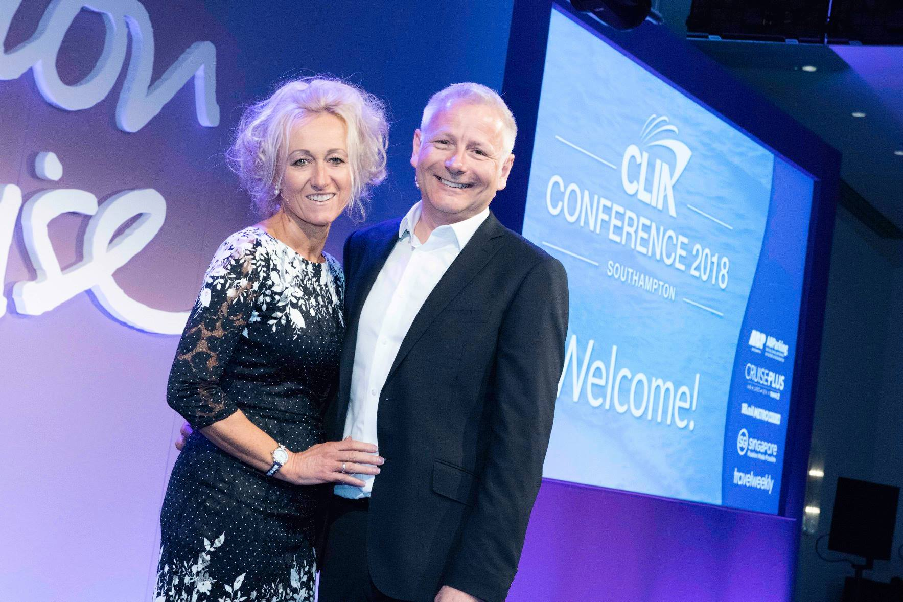Andy Harmer & Lucy Huxley (Travel Weekly) at CLIA Conference 2018.