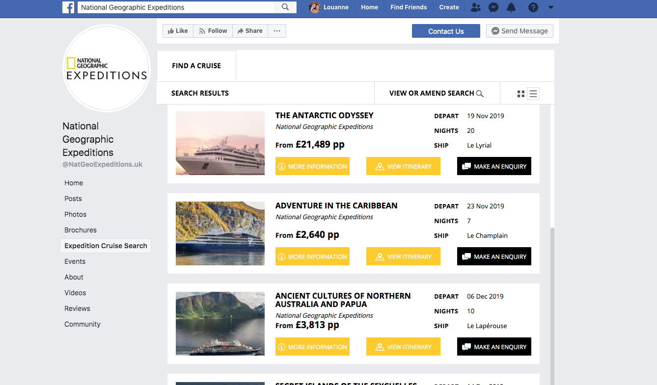 National Geographic Expeditions Facebook page with Widgety Cruise Search.