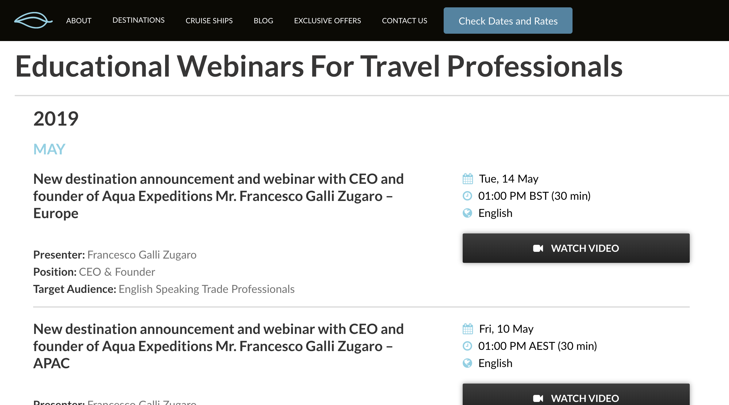 Aqua Expeditions Webinars Available Online