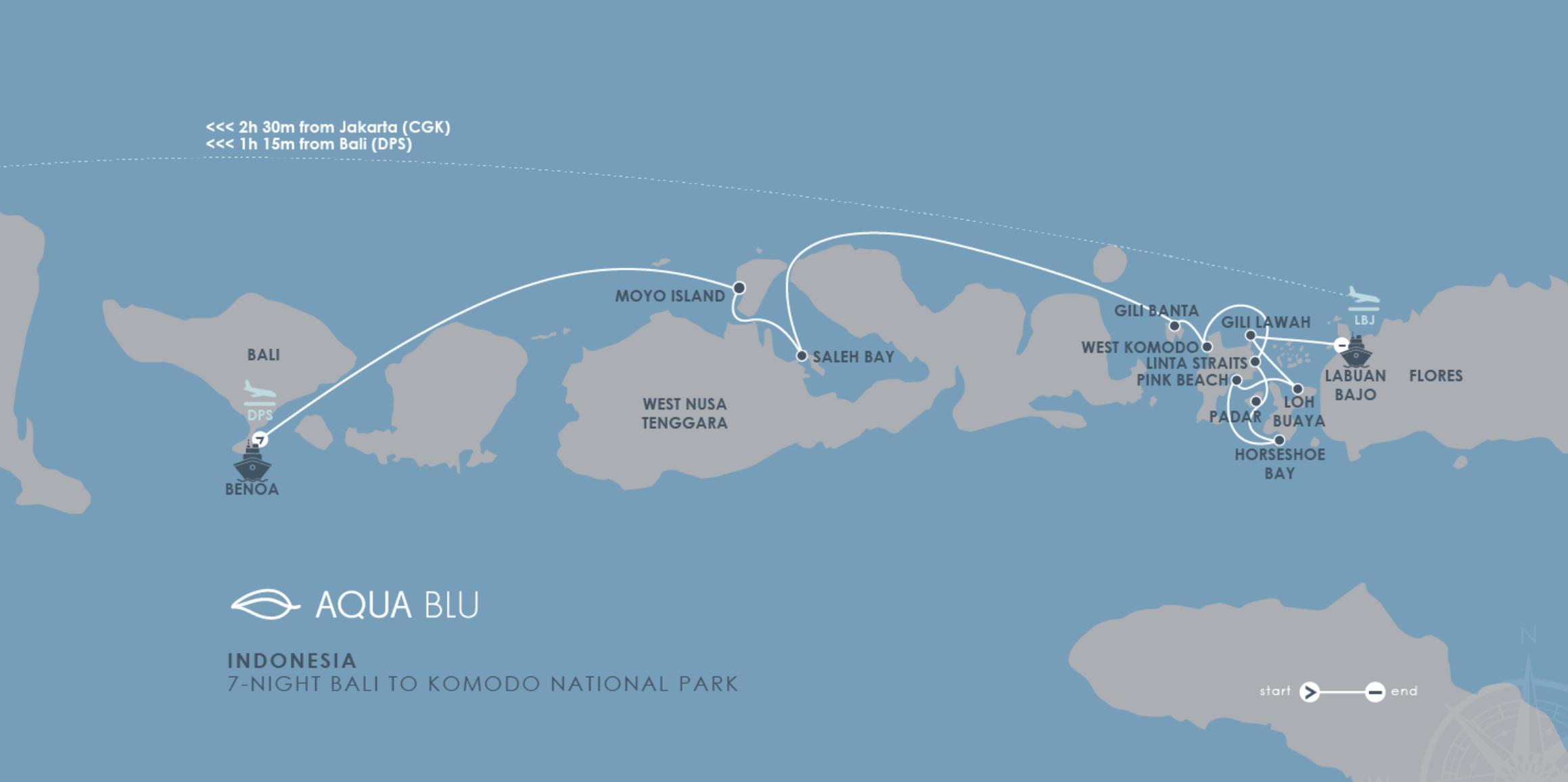 Aqua Blue Itinerary Map