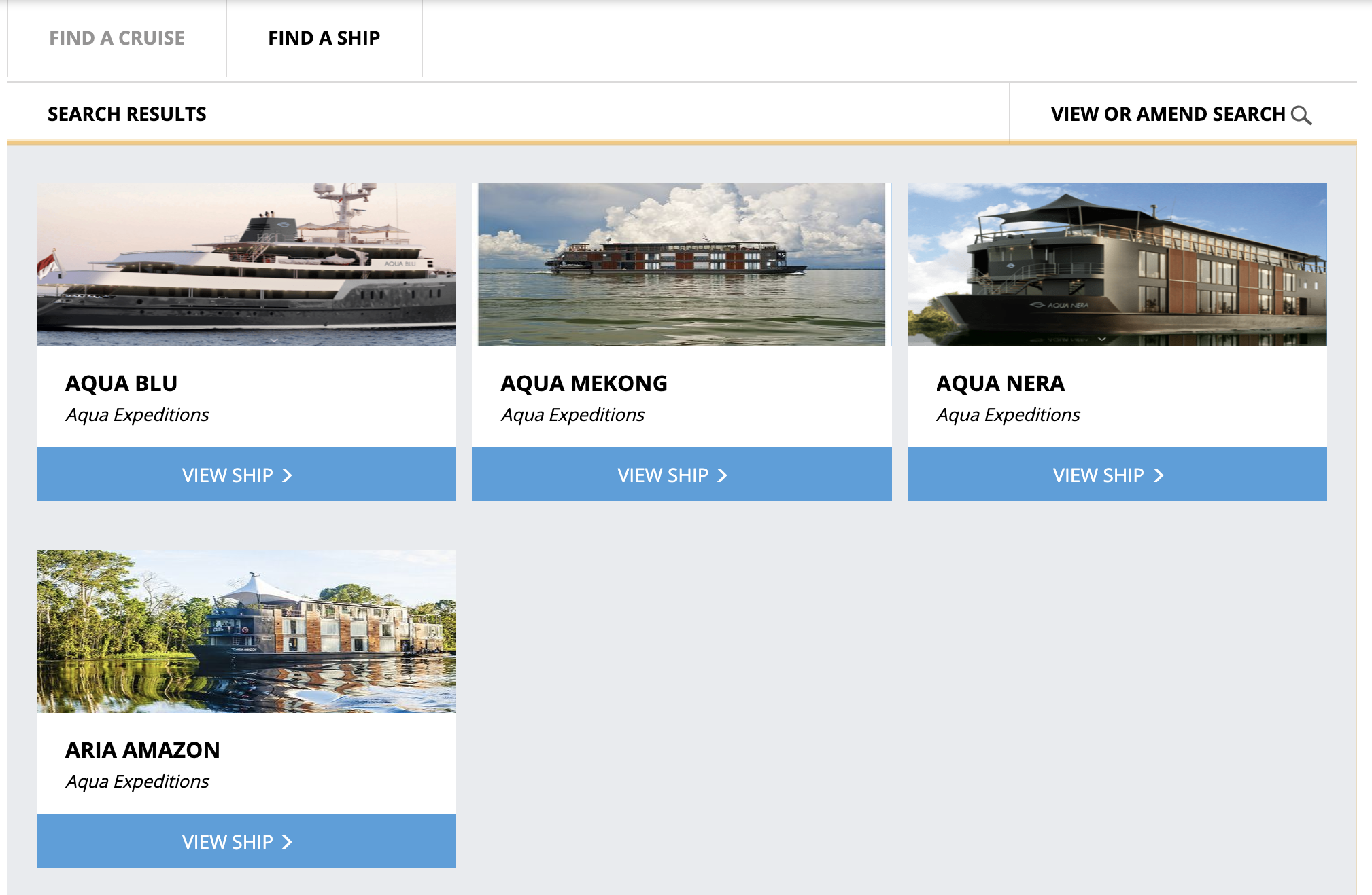 Aqua Expeditions ships on the Widgety Cruise Search.