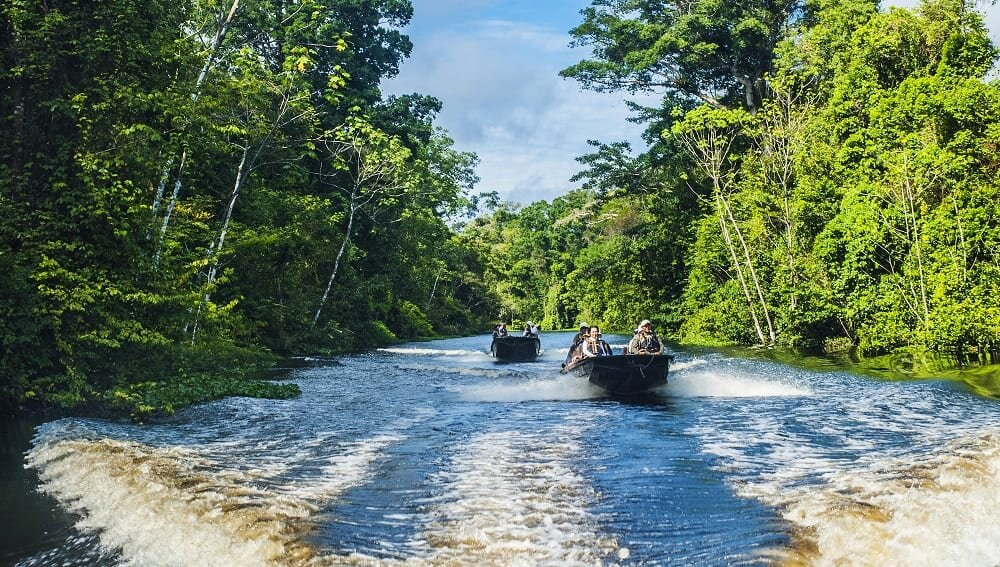 Skiffs on the Amazon.