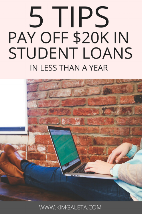 Want to pay off your student loans? Learn 5 tips to pay off your student loans in less than a year to live debt free!