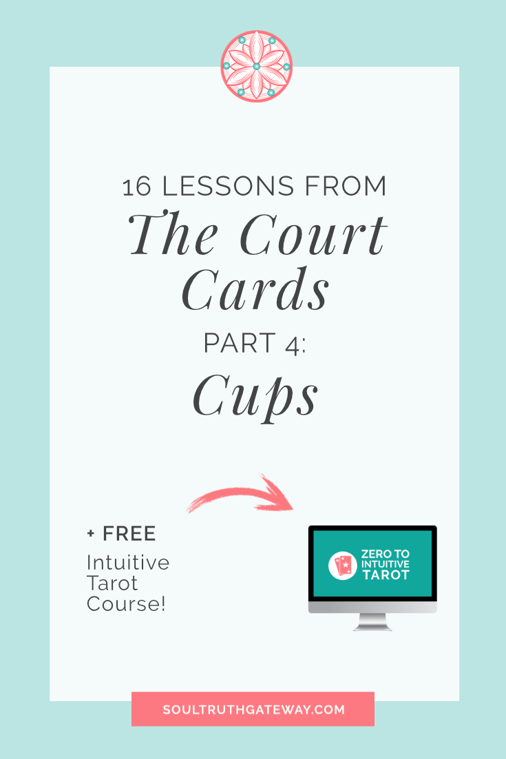 16 Lessons from the Court Cards Part 4: Cups and Court Cards Tarot Cheatsheet!
